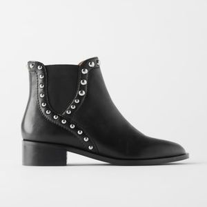 Zara Flat Leather Chelsea Boots With Studs
